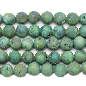 Green Coated Druzy Agate Round 10mm Beads by Halcraft Collection