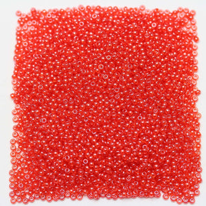 Czech Light Red Luster Transparent 11/0 Seed Beads