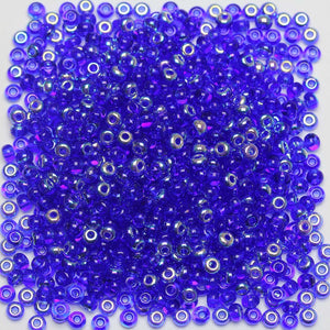Bead, Beads, Czech, Czech Bead, Czech Beads, Glass, Glass Bead, Glass Beads, Round, Round Bead, Round Beads, Seed Bead, Seed Beads, Seed Czech Bead, Seed Czech Beads, AB, Transparent, Royal Blue, 6/0