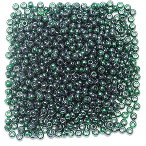 Bead, Beads, Czech, Czech Bead, Czech Beads, Glass, Glass Bead, Glass Beads, Round, Round Bead, Round Beads, Seed Bead, Seed Beads, Seed Czech Bead, Seed Czech Beads, Luster, Dark Green, 6/0