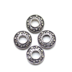 Bead, Beads, Metal, Plated, Plated Beads, Silver Spacer, Silver-plated, Copper Base, Silver Plated, Bali, Bali Style, Rondell, Rondell Bead, Rondell Beads, Made In India, Silver, 8x20mm, 8mm, 20mm