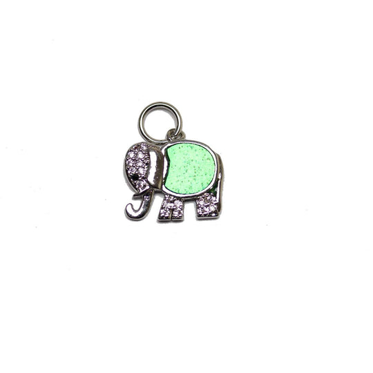 Silver Plated and Faux Opal Elephant with Rhinestones 12x14mm Charm by Bead Gallery