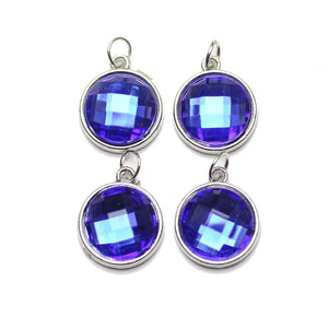 Blue Acrylic Faceted in Metal Charm 16mm Charm by Bead Gallery