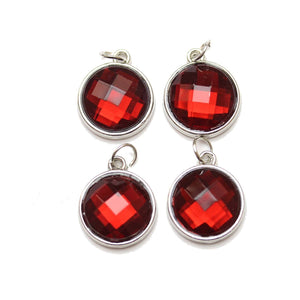 Red Acrylic Faceted in Metal Charm 16mm Charm by Bead Gallery