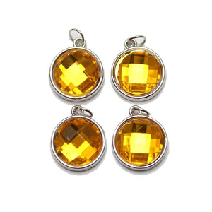 Yellow Acrylic Faceted in Metal Charm 16mm Charm by Bead Gallery