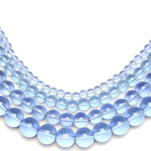 Multi-pack - Glass Beads Round Light Sapphire (sizes 4mm , 6mm , 8mm , 10mm )