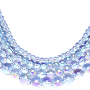 Multi-pack - Glass Beads Round Light Sapphire AB finish (sizes 4mm , 6mm , 8mm , 10mm )