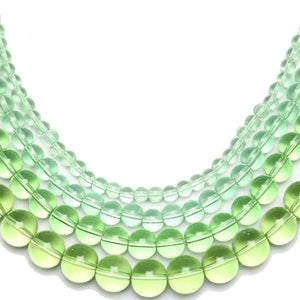 Multi-pack - Glass Beads Round Light Green (sizes 4mm , 6mm , 8mm , 10mm )