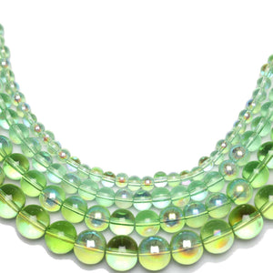 Multi-pack - Glass Beads Round Light Green AB finish (sizes 4mm , 6mm , 8mm , 10mm )
