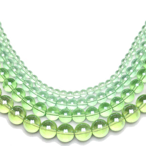 Multi-pack - Glass Beads Round Light Green Luster (sizes 4mm , 6mm , 8mm , 10mm )