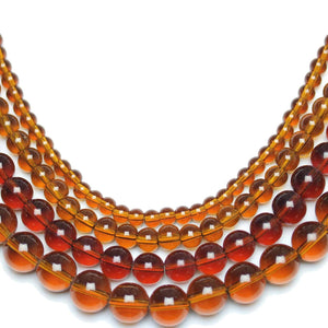 Multi-pack - Glass Beads Round Amber (sizes 4mm , 6mm , 8mm , 10mm )