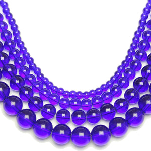 Multi-pack - Glass Beads Round Dark Sapphire (sizes 4mm , 6mm , 8mm , 10mm )