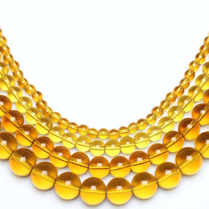 Multi-pack - Glass Beads Round Light Amber (sizes 4mm , 6mm , 8mm , 10mm )