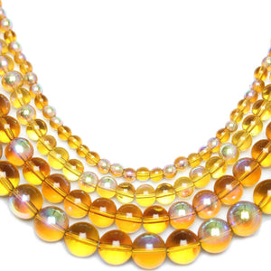 Multi-pack - Glass Beads Round Light Amber AB finish (sizes 4mm , 6mm , 8mm , 10mm )