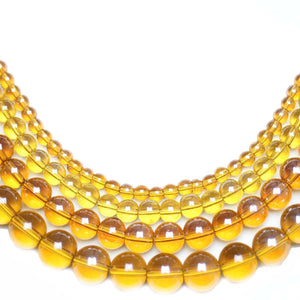 Multi-pack - Glass Beads Round Light Amber Luster (sizes 4mm , 6mm , 8mm , 10mm )
