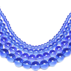 Multi-pack - Glass Beads Round Sapphire (sizes 4mm , 6mm , 8mm , 10mm )