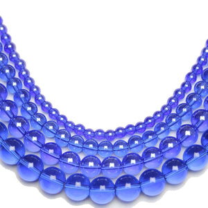 Multi-pack - Glass Beads Round Sapphire Luster (sizes 4mm , 6mm , 8mm , 10mm )