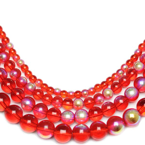 Multi-pack - Glass Beads Round Red AB finish (sizes 4mm , 6mm , 8mm , 10mm )