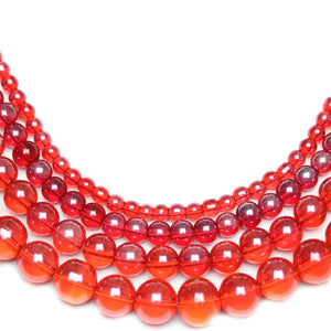 Multi-pack - Glass Beads Round Red Luster (sizes 4mm , 6mm , 8mm , 10mm )
