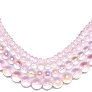 Multi-pack - Glass Beads Round Pink AB finish (sizes 4mm , 6mm , 8mm , 10mm )