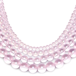 Multi-pack - Glass Beads Round Pink Luster (sizes 4mm , 6mm , 8mm , 10mm )Beads by Halcraft Collection