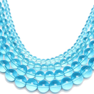 Multi-pack - Glass Beads Round Aqua (sizes 4mm , 6mm , 8mm , 10mm )
