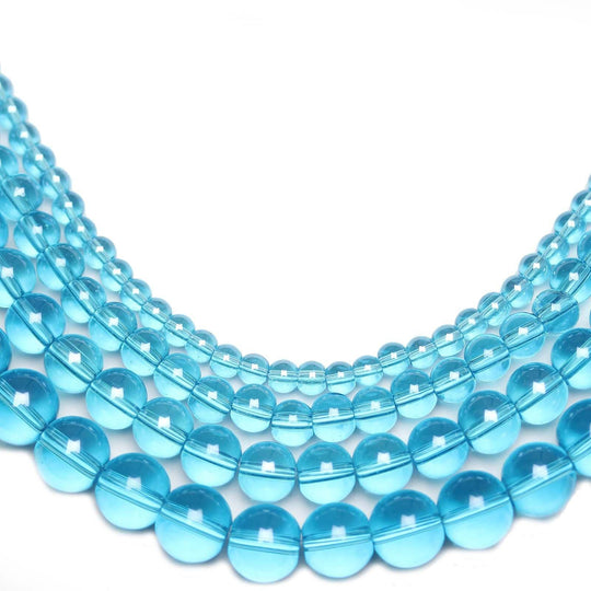Multi-pack - Glass Beads Round Aqua Luster (sizes 4mm , 6mm , 8mm , 10mm )Beads by Halcraft Collection