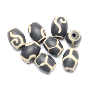 Black Dyed Matte Agate Stone Cream Batik Geometric Pattern 12x15mm