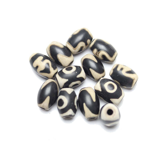 Black Dyed Agate Matte Stone Batik Cream Pattern 8x10mm