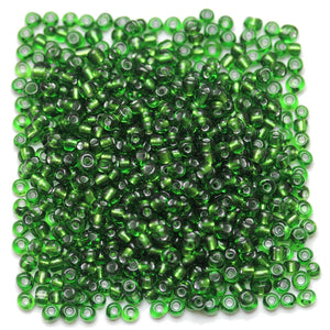 Green Chinese Silver Lined 6/0 E beadsBeads by Halcraft Collection