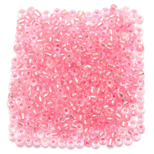 Pink Chinese Silver Lined 6/0 E beadsBeads by Halcraft Collection
