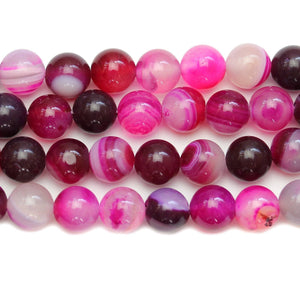 Fuchsia Dyed Agate Round 8mm BeadsBeads by Halcraft Collection
