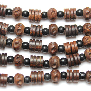 Bead, Beads, Wood, Wood Bead, Wood Beads, Etched, Carved, Brown, Mix, Round, Round Bead, Round Beads, 10-14mm, 10mm, 12mm, 14mm, Made in India