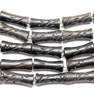 Bead, Beads, Wood, Wood Bead, Wood Beads, Etched, Carved, Brown, Tube, Tube Bead, Tube Beads, 89963, 9x22mm, 9mm, 22mm, Made in India