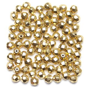 Czech 14K Plated Gold Faceted Fire Polished 6mmBeads by Halcraft Collection