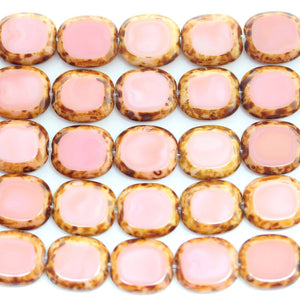 Bead, Beads, Glass, Glass Bead, Glass Beads, Czech, Czech Bead, Czech Beads, Pink, Brown, Rectangle, Rectangle Bead, Rectangle Beads, Travertine, 12x14mm, 12mm, 14mm