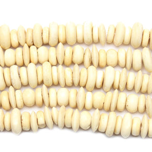 Natural Bone Beads Rondell, Mixed Size 8-12mm