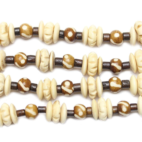Natural & Dyed Bone Rondell & Round, Mixed Size 5-12mm Beads by Halcraft Collection
