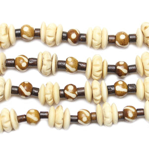 Natural & Dyed Bone Rondell & Round, Mixed Size 5-12mm