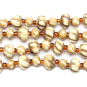 Dyed Carved Bone Mixed Rondell Beads 6x8mm  & 10x12mm