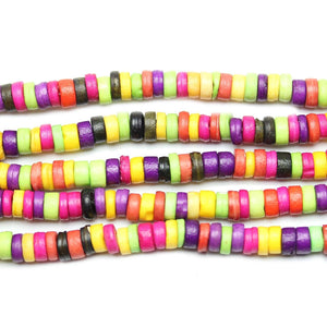 Dyed Bone Beads Bright Berry Mixed Spacers 6mm  Disks (varying height 1mm  - 3mm )