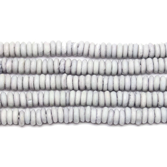 Dyed Bone Rondell Beads Matte Silver Grey 2x7mm Beads by Halcraft Collection