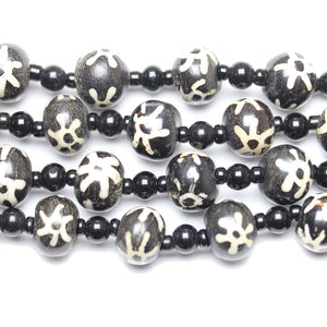 Bead, Beads, Bone, Bone Beads, Bone Bead, Black, Rondell Bead, Rondell Beads, Rondell, Made in India, Batik, Dyed, Dyed Bead, 12x15mm, 12mm, 15mm