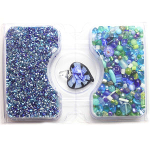 Blue & Green Glass Seed Bead Mix & Glass Mix with Lampwork PendantKit by Bead Gallery