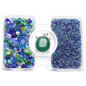 Blue & Green Glass Seed Bead Mix & Glass Mix with Stone Turtle PendantKit by Bead Gallery