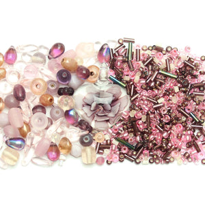 Pink & Amethyst Glass Seed Bead Mix & Glass Mix with Lampwork PendantKit by Halcraft Collection