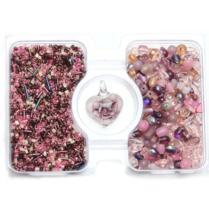 Pink & Amethyst Glass Seed Bead Mix & Glass Mix with Lampwork PendantKit by Bead Gallery