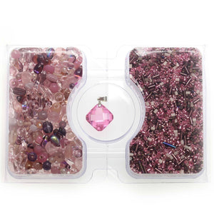 Pink & Amethyst Glass Seed Bead Mix & Glass Mix with CZ PendantKit by Bead Gallery