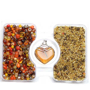 Amber Glass Seed Bead Mix & Glass Mix with Agate PendantKit by Bead Gallery