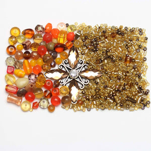 Amber Glass Seed Bead Mix & Glass Mix with Topaz PendantKit by Halcraft Collection